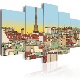 Cuadro - Dibujo idílico de París