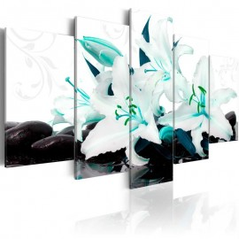 Quadro - Turquoise lilies and stones
