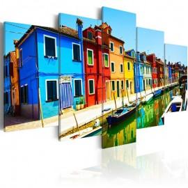 Cuadro - Casas en colores del arco iris