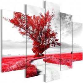 Quadro - Tree near the Road (5 Parts) Red