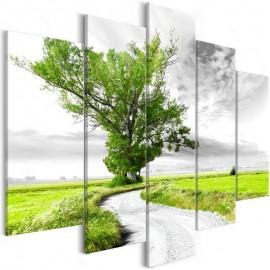 Quadro - Tree near the Road (5 Parts) Green