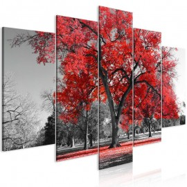 Quadro - Autumn in the Park (5 Parts) Wide Red