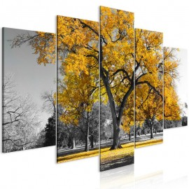 Quadro - Autumn in the Park (5 Parts) Wide Gold