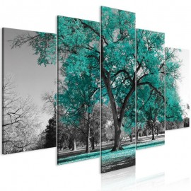 Cuadro - Autumn in the Park (5 Parts) Wide Turquoise