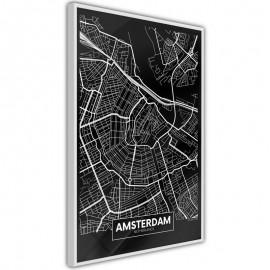 Pôster - City Map: Amsterdam (Dark)
