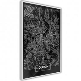 Pôster - City Map: Cologne (Dark)