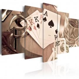 Cuadro - Noche de póker - sepia