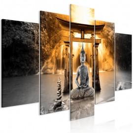 Cuadro - Buddha Smile (5 Parts) Wide Orange