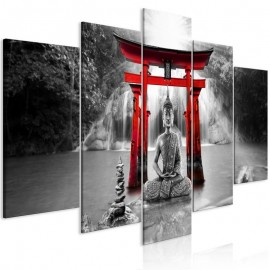 Cuadro - Buddha Smile (5 Parts) Wide Red