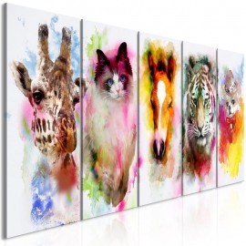 Quadro - Watercolour Animals (5 Parts) Narrow