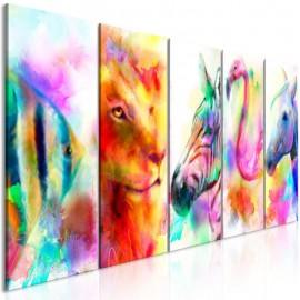 Quadro - Rainbow Watercolours (5 Parts) Narrow