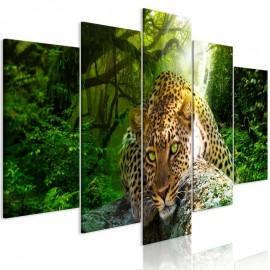 Cuadro - Leopard Lying (5 Parts) Wide Green