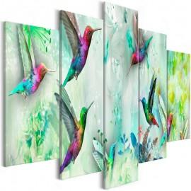 Cuadro - Colourful Hummingbirds (5 Parts) Wide Green