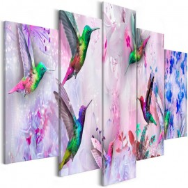 Cuadro - Colourful Hummingbirds (5 Parts) Wide Violet