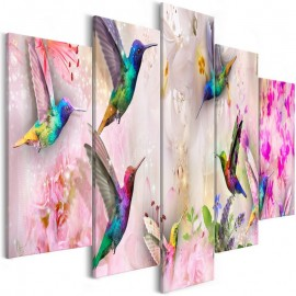 Quadro - Colourful Hummingbirds (5 Parts) Wide Pink