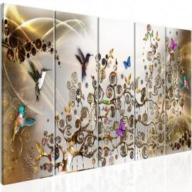 Cuadro - Hummingbirds Dance (5 Parts) Gold Narrow