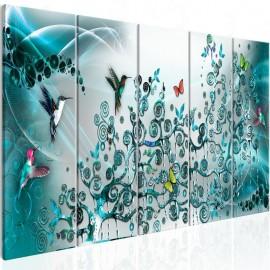 Cuadro - Hummingbirds Dance (5 Parts) Turquoise Narrow