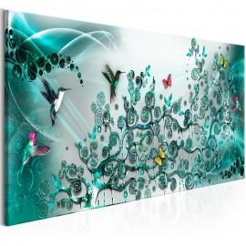 Cuadro - Hummingbirds Dance (1 Part) Turquoise Narrow