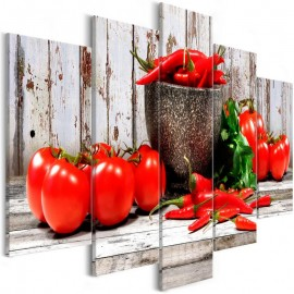 Cuadro - Red Vegetables (5 Parts) Wood Wide