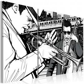 Quadro - Concerto de jazz no fundo dos arranha-céus de Nova York