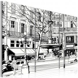Cuadro - Sketch de plaza parisina