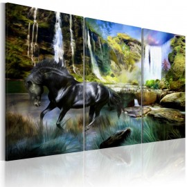 Quadro - Horse on the sky-blue waterfall background