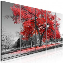 Quadro - Autumn in the Park (5 Parts) Narrow Red