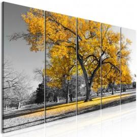 Quadro - Autumn in the Park (5 Parts) Narrow Gold