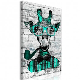 Cuadro - Giraffe with Pipe (1 Part) Vertical Green