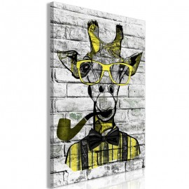Cuadro - Giraffe with Pipe (1 Part) Vertical Yellow