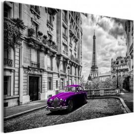 Quadro - Car in Paris (1 Part) Violet Wide