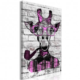 Quadro - Giraffe with Pipe (1 Part) Vertical Pink