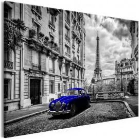 Cuadro - Car in Paris (1 Part) Blue Wide