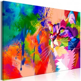 Cuadro - Colourful Cat (1 Part) Wide