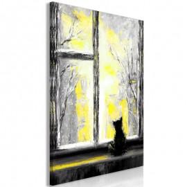 Quadro - Longing Kitty (1 Part) Vertical Yellow