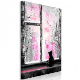 Quadro - Longing Kitty (1 Part) Vertical Pink