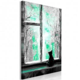 Quadro - Longing Kitty (1 Part) Vertical Green