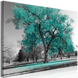 Cuadro - Autumn in the Park (1 Part) Wide Turquoise