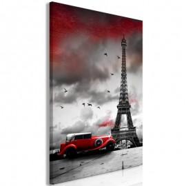 Cuadro - Red Car in Paris (1 Part) Vertical