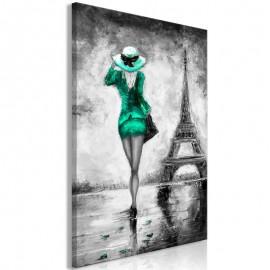 Quadro - Parisian Woman (1 Part) Vertical Green