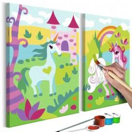 Quadro pintado por você - Fairytale Unicorns