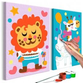 Quadro pintado por você - Lion & Giraffe