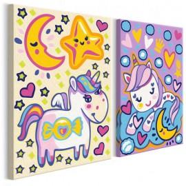 Cuadro para colorear - Unicornios (Buenos días y Buenas noches)