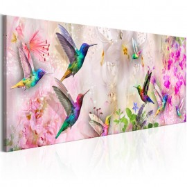 Quadro - Colourful Hummingbirds (1 Part) Narrow