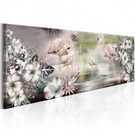 Quadro - Flamingoes and Flowers