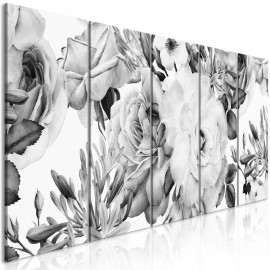 Quadro - Rose Composition (5 Parts) Narrow Black and White