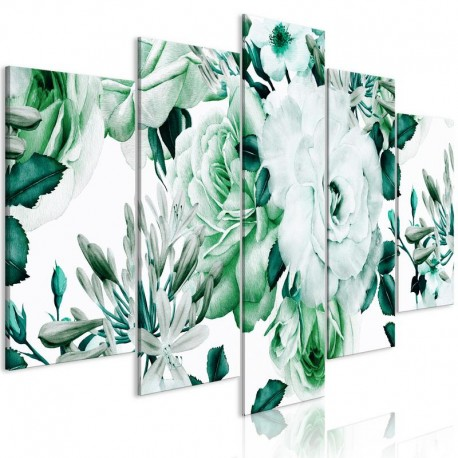 Cuadro - Rose Composition (5 Parts) Wide Green