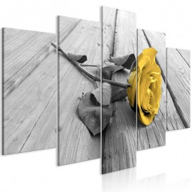 Cuadro - Rose on Wood (5 Parts) Wide Yellow
