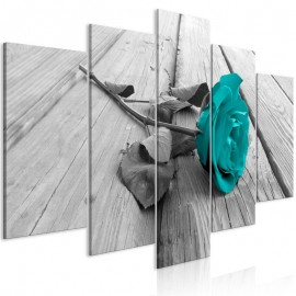 Cuadro - Rose on Wood (5 Parts) Wide Turquoise