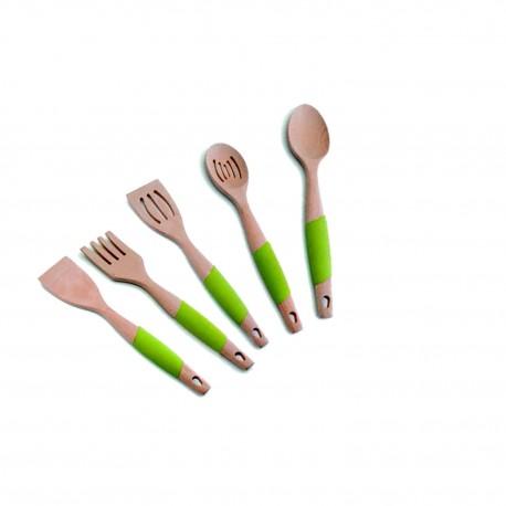 Juego utensilios de cocina de madera haya y mango de silicona